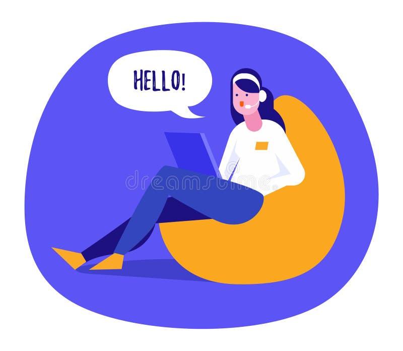 Девушка, общающаяся в Интернете через ноутбук Векторная иллюстрация современного мультипликационного стиля на белом стоковое изображение rf