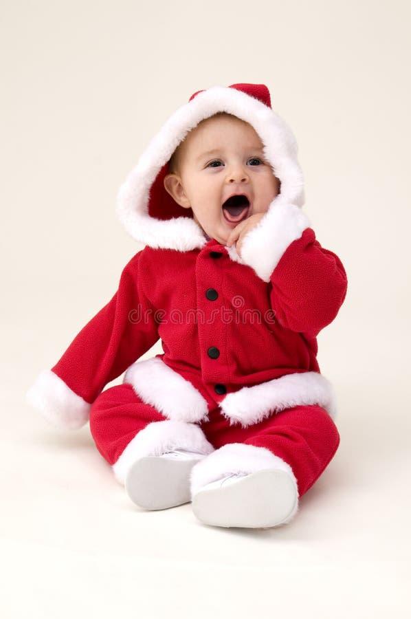 девушка одетьнная costume santa младенца вверх стоковое фото rf