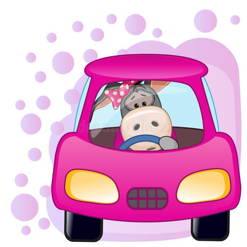 Девушка осла в автомобиле иллюстрация штока