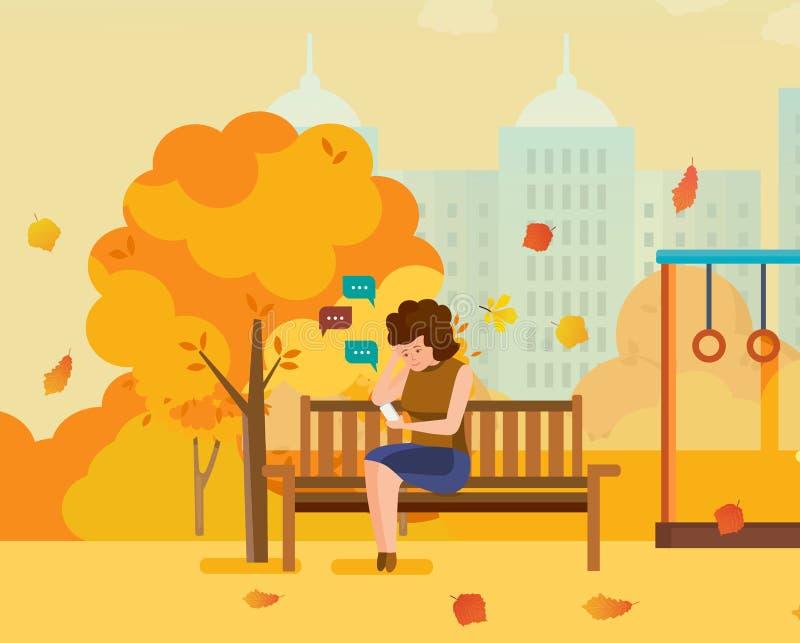 Девушка отдыхая в парке осени, связывает на телефоне через посыльные бесплатная иллюстрация