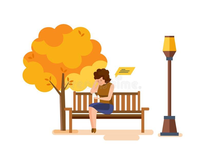 Девушка отдыхая в парке осени, связывает на телефоне через посыльные иллюстрация вектора