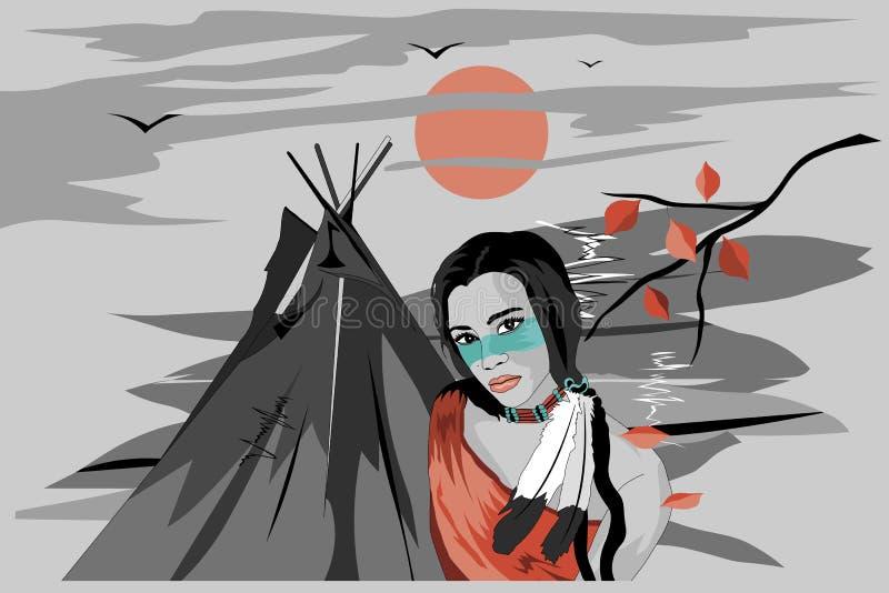 Девушка от старого племени иллюстрация штока