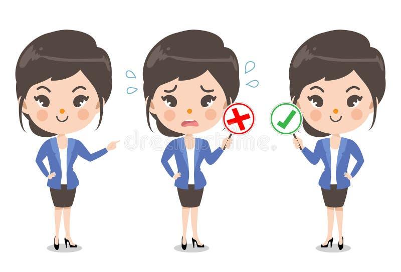 Девушка офиса и эмоция действия иллюстрация штока