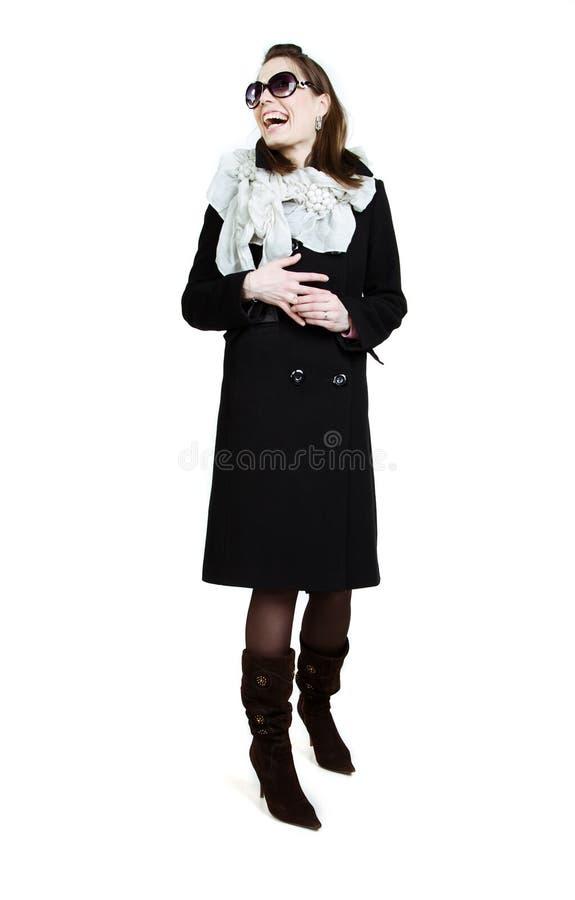 девушка пальто осени модная стоковая фотография rf