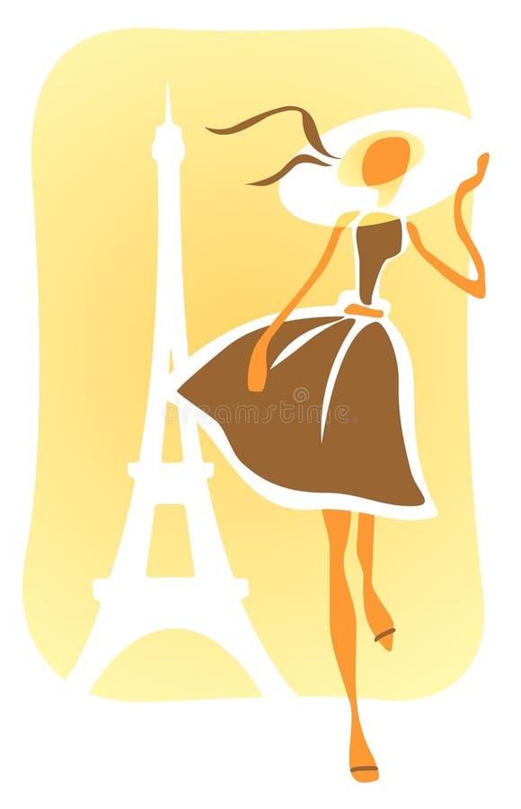 девушка парижская иллюстрация штока