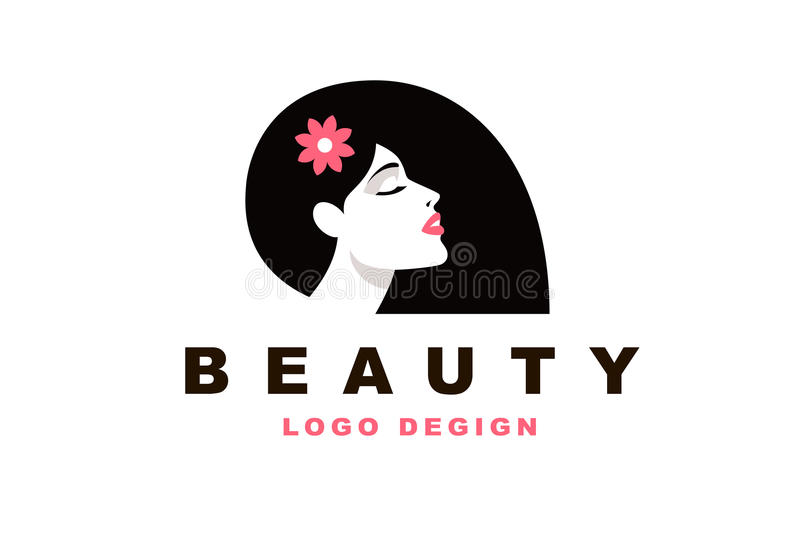 Девушка, парикмахер и мода брюнет логотипа иллюстрация вектора