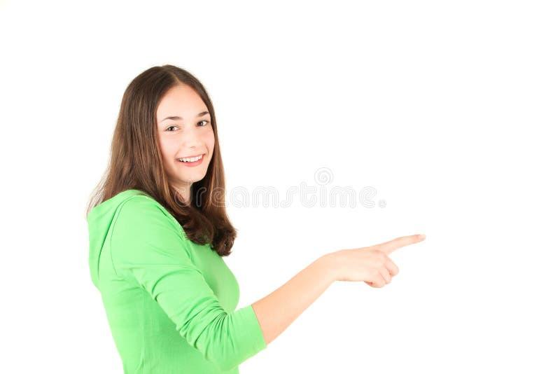 девушка перста указывая подростковые детеныши стоковое изображение rf
