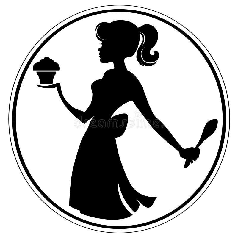 Девушка пирожного иллюстрация вектора