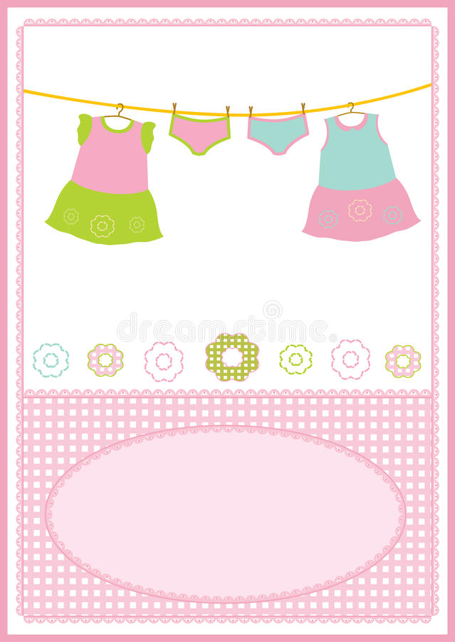 девушка платья карточки младенца иллюстрация вектора
