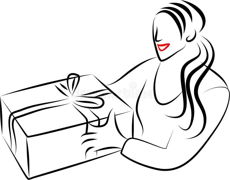 девушка подарка иллюстрация вектора
