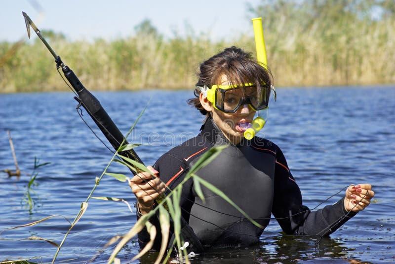 девушка подныривания подводная стоковое изображение