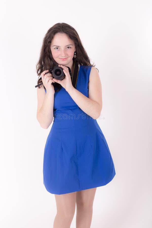 Девушка подростка с камерой стоковые изображения rf