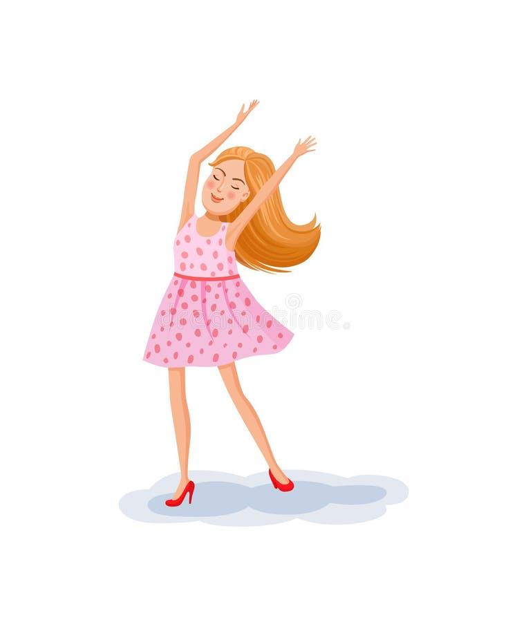 Девушка подростка танцует иллюстрация вектора