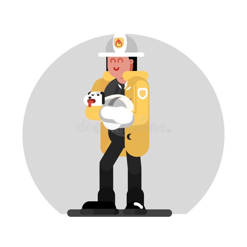 Девушка пожарного сохраняет собаку иллюстрация штока