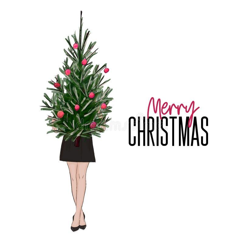 Девушка поздравительной открытки рождества держа дерево Нового Года украшенный с шариками Обмундирование женщины вектора стильное иллюстрация штока