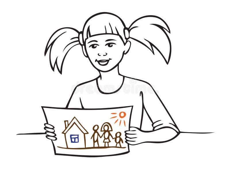 Девушка показывает чертеж ребенка бесплатная иллюстрация