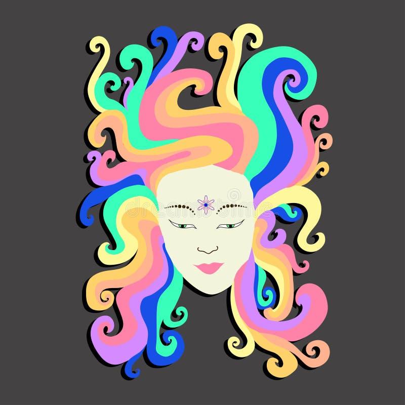 Девушка портрета искусства вектора радуги иллюстрация вектора