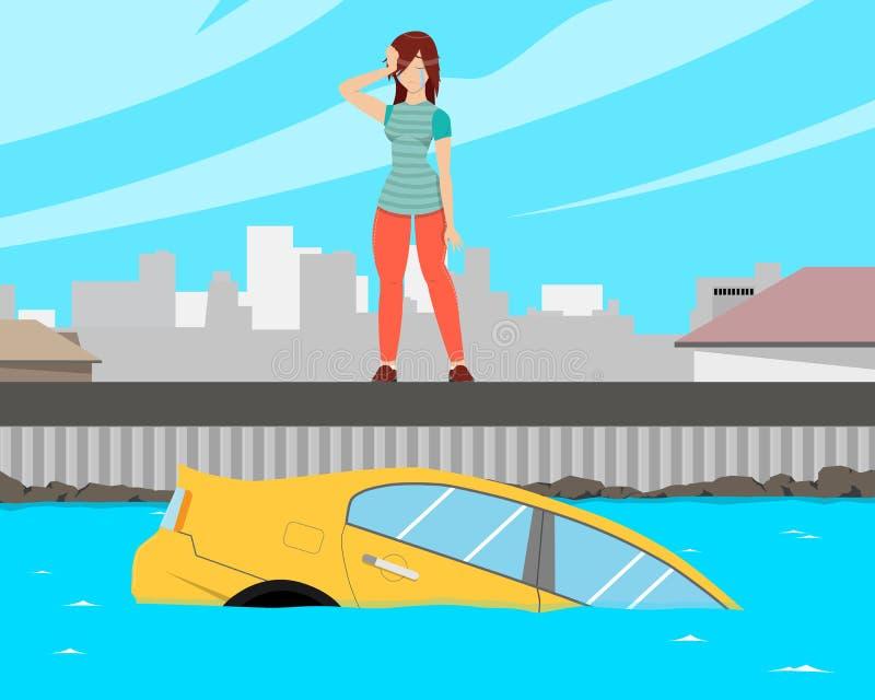 Девушка потонула автомобиль бесплатная иллюстрация