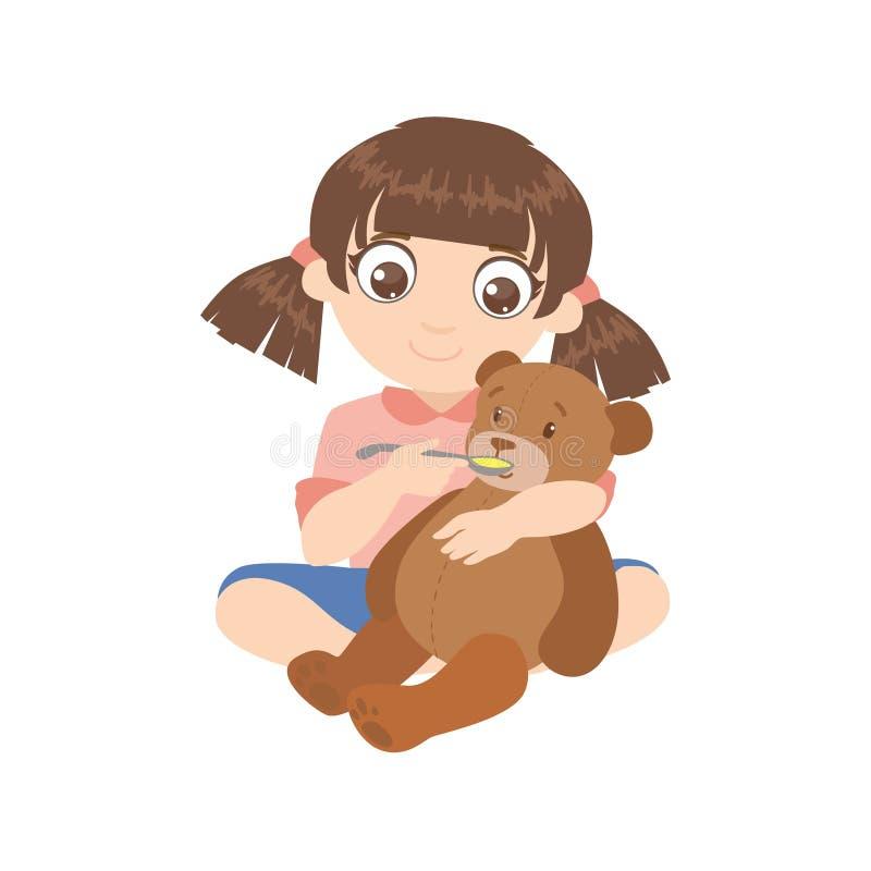 Девушка подавая плюшевый медвежонок иллюстрация штока