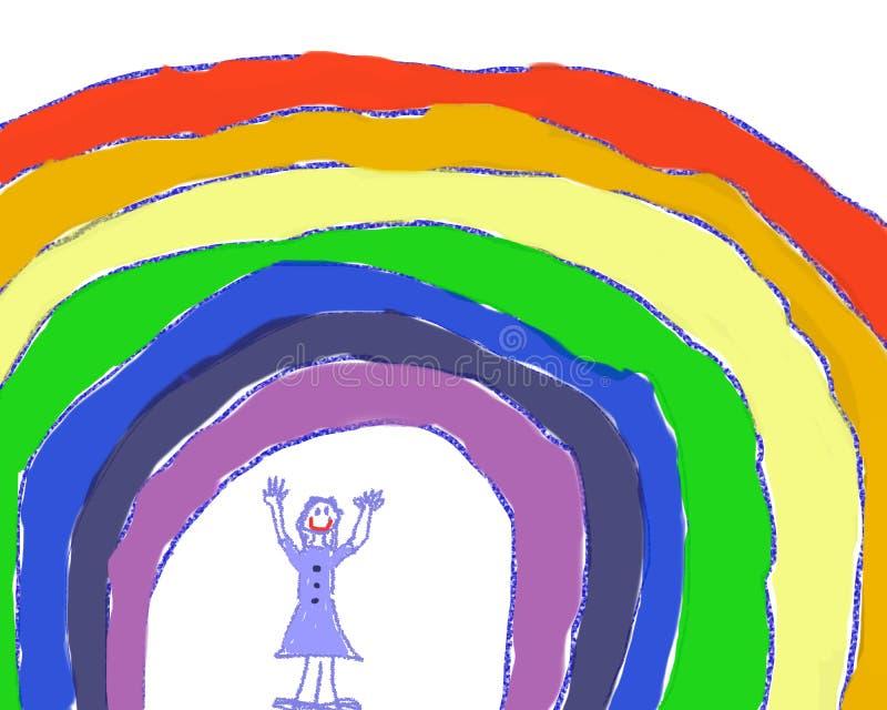 Девушка под радугой стоковые изображения rf