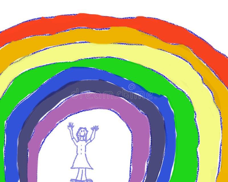 Девушка под радугой стоковое фото