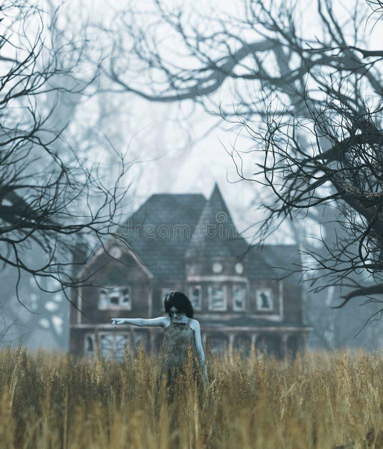 Девушка призрака со сценой преследовать дома в страшном лесе иллюстрация вектора