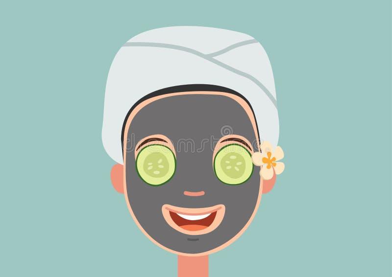 Девушка при лицевой щиток гермошлема ослабляя иллюстрация вектора