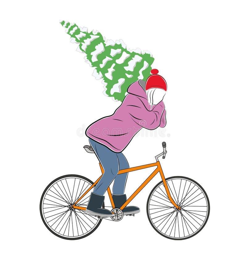 Девушка при рождественская елка ехать велосипед Новый Год Рождество также вектор иллюстрации притяжки corel иллюстрация штока