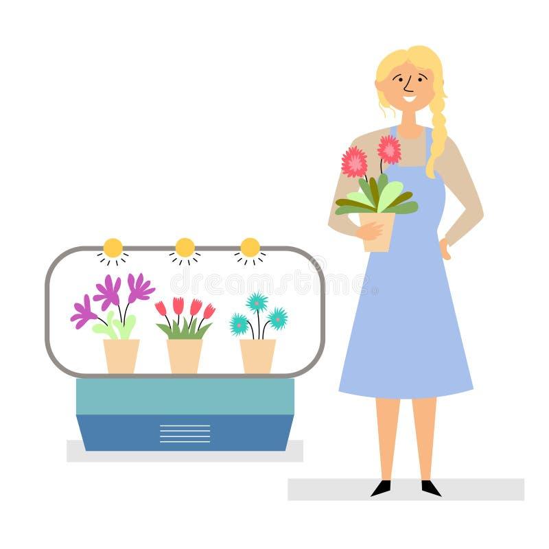 Девушка продает цветы иллюстрация вектора