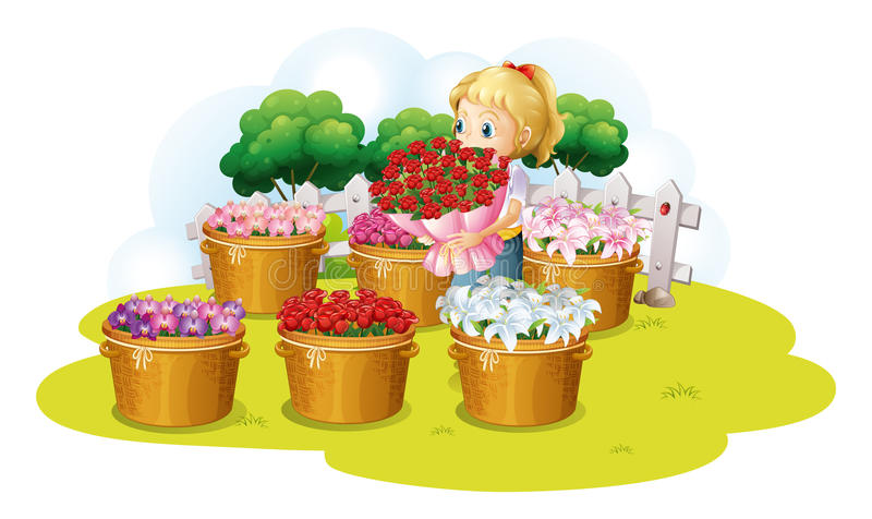 Девушка продавая цветок иллюстрация штока
