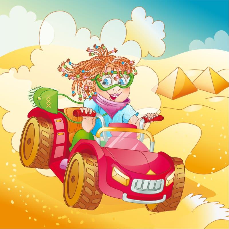 девушка пустыни bike меньший riding квада иллюстрация вектора