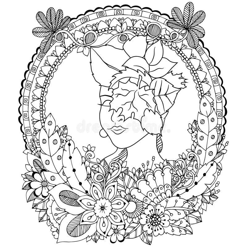 Девушка путать Дзэн иллюстрации вектора с цветками Чертеж ...
