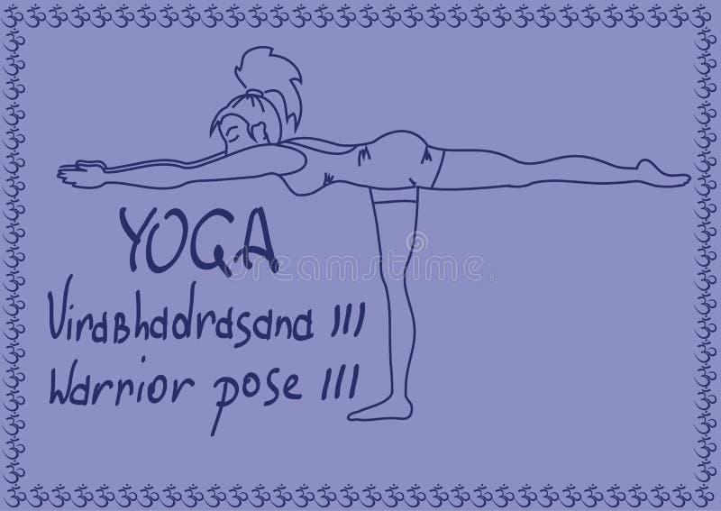 Девушка плана в представлении йоги ратника 3 иллюстрация вектора