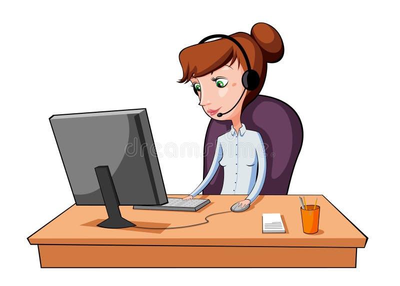 Девушка работая в центре телефонного обслуживания иллюстрация вектора