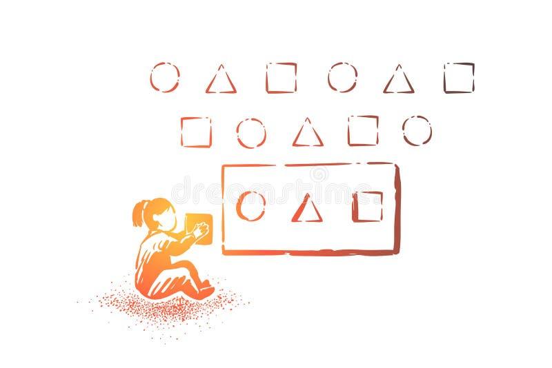 Девушка разрешая головоломку, различные формы и блоки, воспитательную игру для детей, интеллектуальный инструмент роста иллюстрация вектора