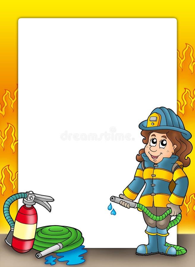 девушка рамки пожарного иллюстрация вектора