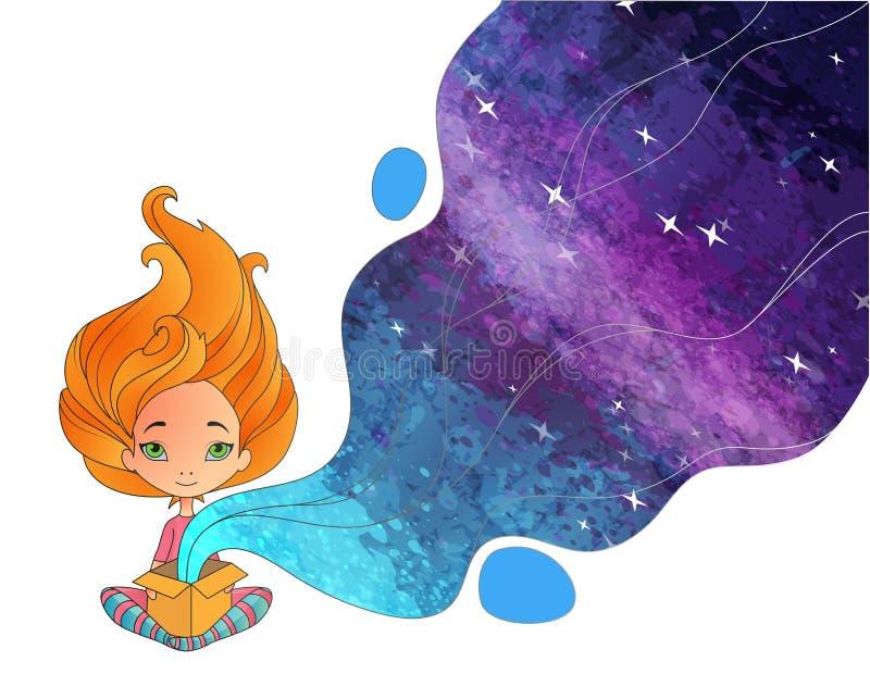 Девушка распологая с открытой коробкой cardbord Unboxing концепция бесплатная иллюстрация