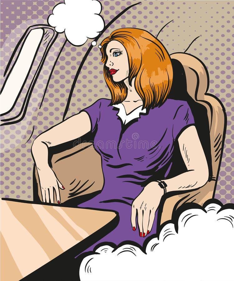 Девушка распологая и смотря вне окно самолета Vector иллюстрация в ретро шуточном стиле искусства шипучки Предпринимательский кла бесплатная иллюстрация