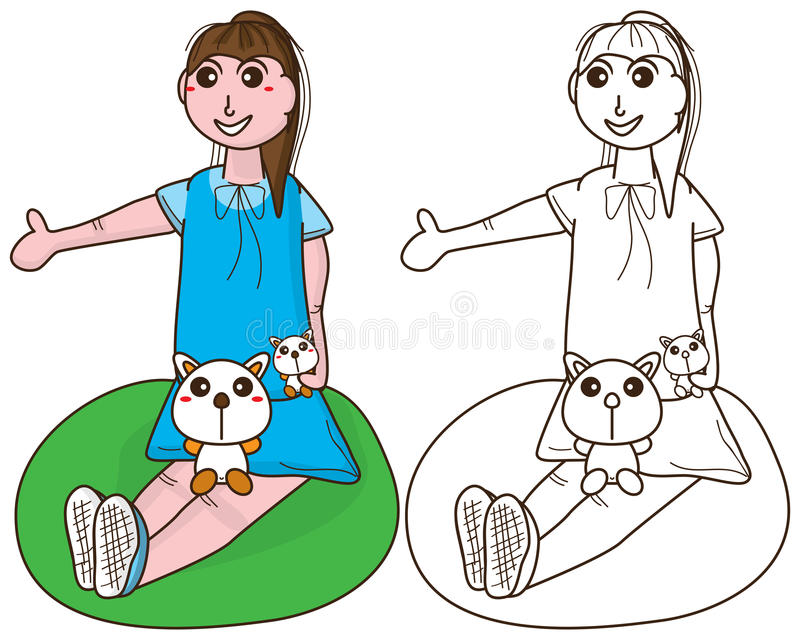 Девушка ребенк сидит расцветка бесплатная иллюстрация