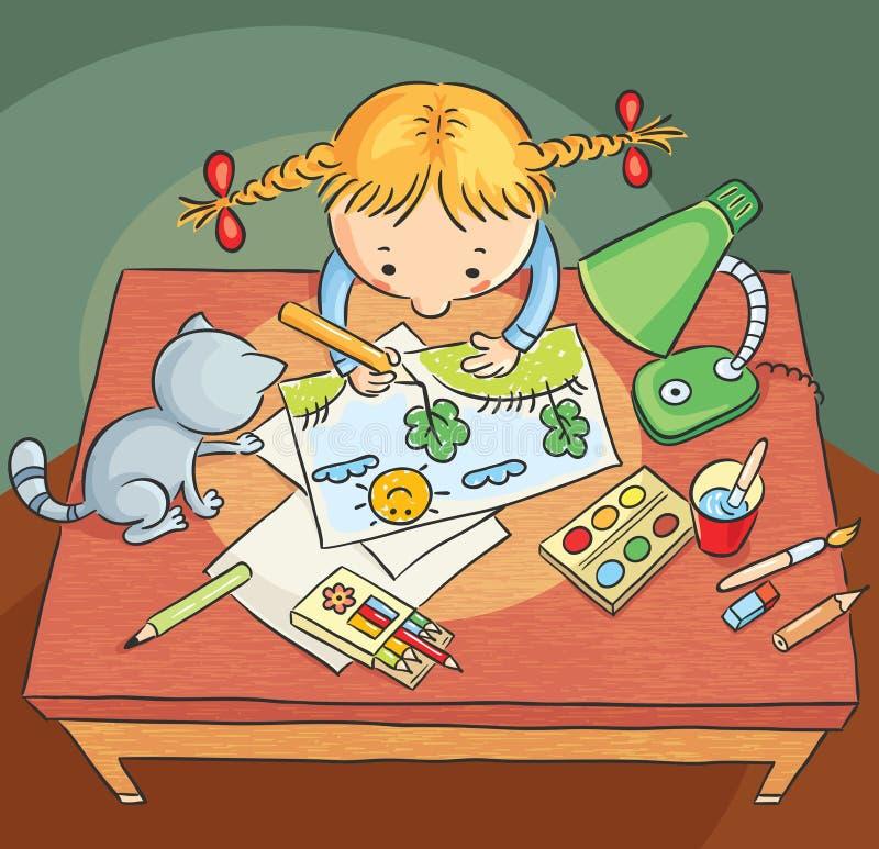 Девушка рисуя изображение бесплатная иллюстрация