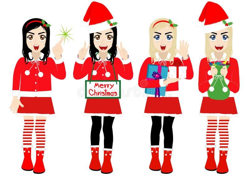 Девушка рождества вектора нося костюм Санта иллюстрация штока