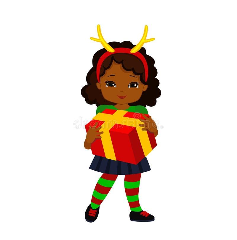 Девушка рождества в костюме оленей держит подарок иллюстрация вектора
