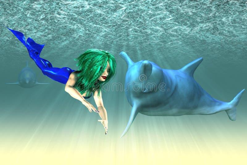 Девушка русалки с дельфинами иллюстрация штока