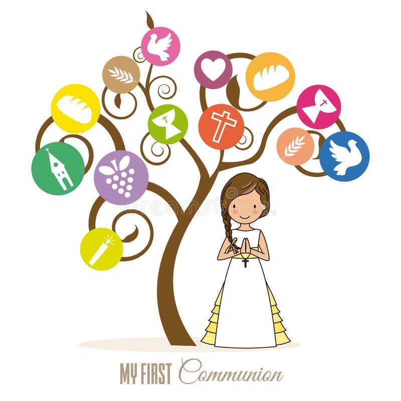 Девушка рядом с деревом с религиозными значками иллюстрация вектора