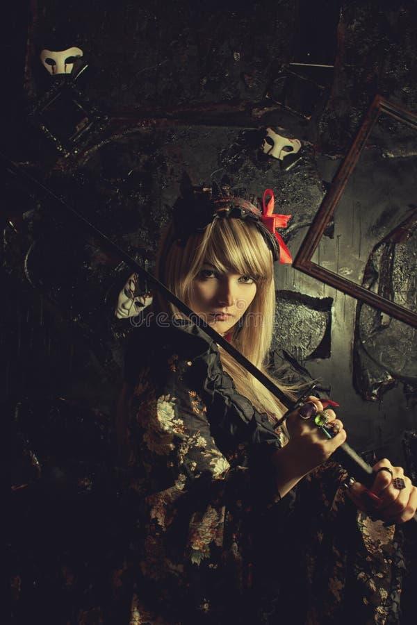 Девушка самураев стоковое фото rf