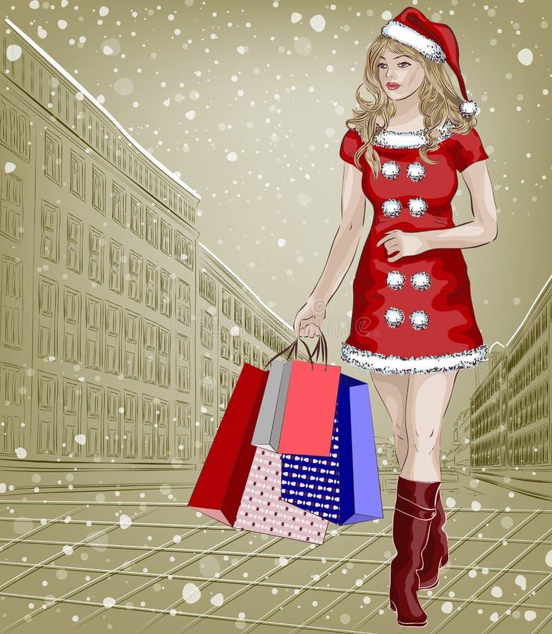 Девушка Санты с пакетами покупок рождества на cit иллюстрация штока