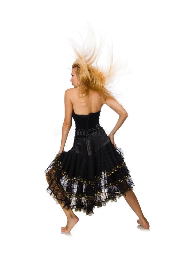 Девушка светлых волос в черном платье вечера изолированном дальше стоковые фото