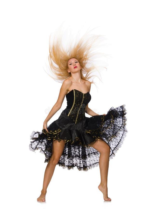 Девушка светлых волос в черном платье вечера изолированном дальше стоковое изображение