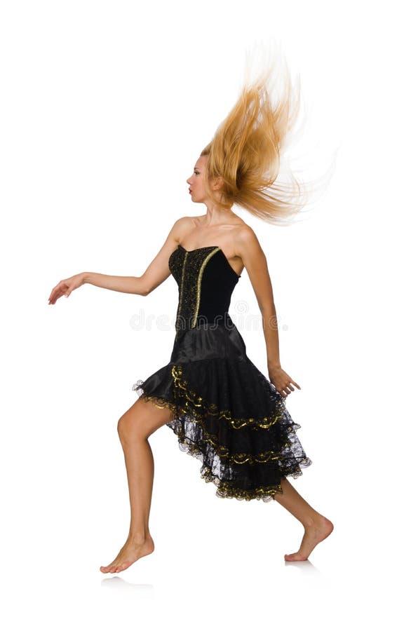 Девушка светлых волос в черном платье вечера изолированном дальше стоковое фото