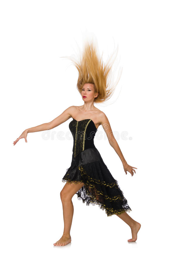Девушка светлых волос в черном платье вечера изолированном дальше стоковые изображения rf